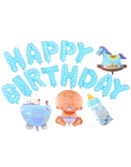 Blau Baby Thema Happy Birthday Ballon