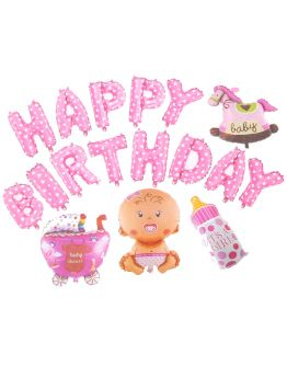 Rosa Baby Thema Happy Birthday Ballon