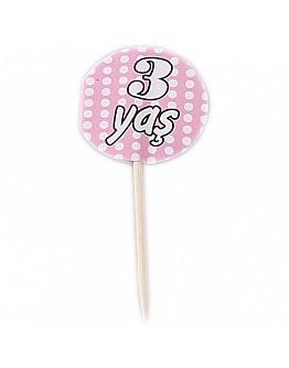 3 Jahr Pink mit Pünktchen Partypicker 10 Stück