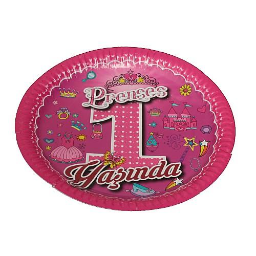 1 Jahr Rosa Party Teller