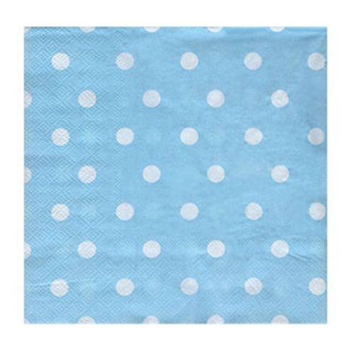 Party Servietten Blau mit weißen Pünktchen 20 Stück