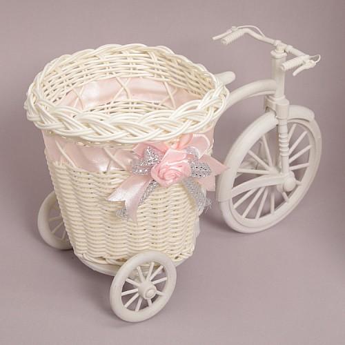 Fahrrad mit Korb Rosa
