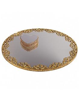 Gold Spiegelglas Verlobungstablett mit Herz Ring Platz ca. 30 cm