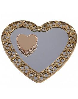 Herz Gold Spiegelglas Verlobungstablett mit Herz Ring Platz ca. 25 cm