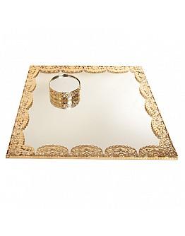 Quadrad Gold Spiegelglas Verlobungstablett mit Ring Platz ca. 30x30 cm