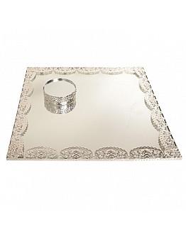 Quadrad Silber Spiegelglas Verlobungstablett mit Rundem Ring Platz ca. 30x30 cm