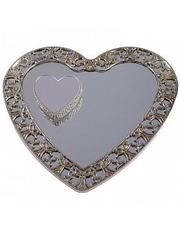 Silber Spiegelglas Verlobungstablett mit rundem Ring Platz ca. 25 cm