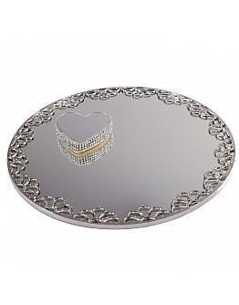 Silber Spiegelglas Verlobungstablett mit Rundem Ring Platz ca. 30 cm