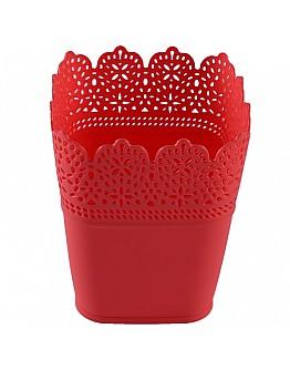 Dekoration Vase Aus Plastik Rot Viereck 1 Stück