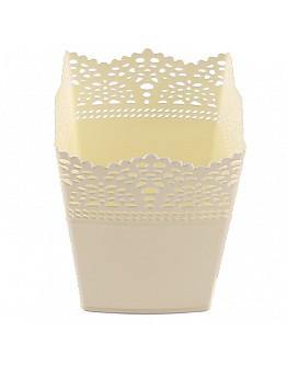 Dekoration Vase Aus Plastik Viereck Krremefarbe 1 Stück