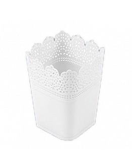 Dekoration Vase Aus Plastik Weiß Viereck 1 Stück