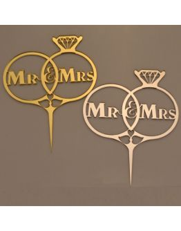 Cake Topper Eheringe Mr & Mrs Gold / Silber