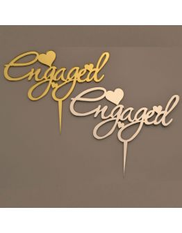 Cake Topper ENGAGED Gold / Silber