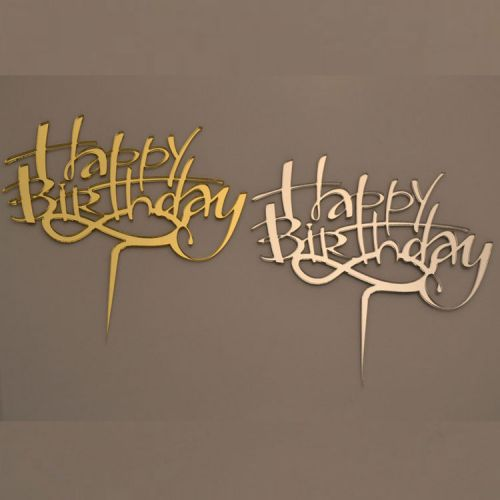 Cake Topper Happy Birthday Silber