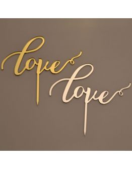 Cake Topper Love Gold / Silber