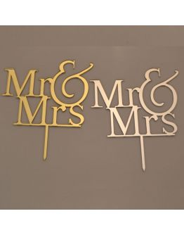 Cake Topper Mr & Mrs Gold / Silber