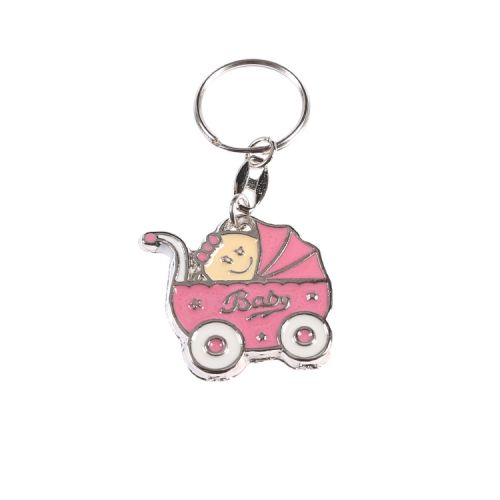 Baby im Rosa Babywagen Schlüsselanhänger 1 Stück