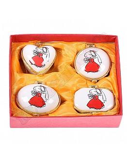 Braut Porzellan Geschenk Schachtel 4'er Set