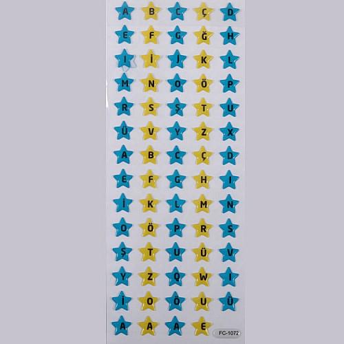Blau Gelb Stern Buchstaben Face Sticker Aufkleber