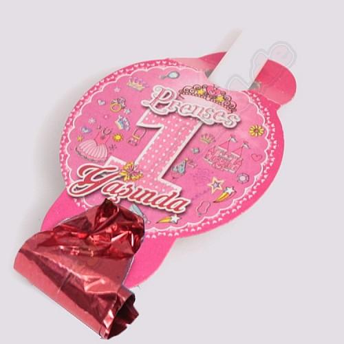 Rosa 1 Jahr Partypfeifen / Tröten 6 Stück