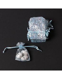 Blau mit Silber Motiv mini Tüllbeutelchen  25 stück