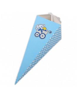 Blau Gepunktet mit Babywagen Thema Geschenkbox  10 stück