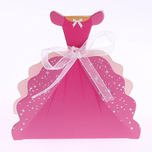 Geschenk Schachtel Abendkleid Pink mit Schleife 10 Stück