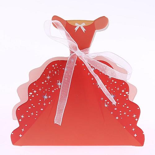 Geschenk Schachtel Abendkleid Rot mit Schleife 10 Stück