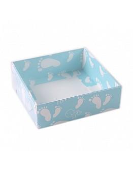 Geschenkbox Blau mit Füßen Thema  mit Deckel 9x9x3 5 stück