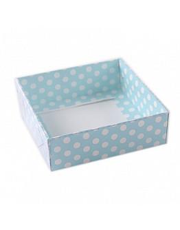 Geschenkbox Blau mit Pücktchen mit Deckel  9x9x3 5 stück