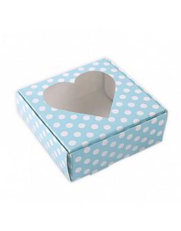 Geschenkbox Herzfenster Blau mit Pücktchen  8x8x3 5 stück