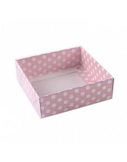 Geschenkbox Pink mit Pücktchen mit Deckel 9x9x3 5 stück