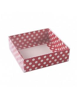 Geschenkbox Rot mit Pünktchen mit Deckel 9x9x3 5 stück