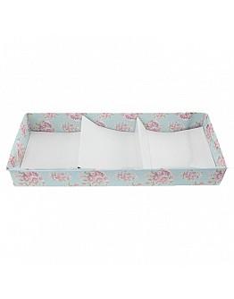 Geschenkbox Türkis Blumen Muster Mitdeckel  Seife&Duftsteine 9x22.5 10 Stück