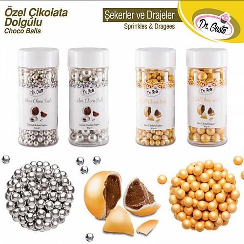 Dr Gusto Gold Torten Deko Perlen mit Scokoladen Füllung 50 gr