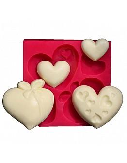 4 Herzformen Silikonform