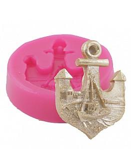 Anker mit Schiff  Silikon Form  ca. 8 cm