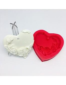 Herz mit Rosen zum Aufhängen Silikonform