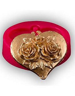 Herz mit 3 Blumen Muster Silikonform
