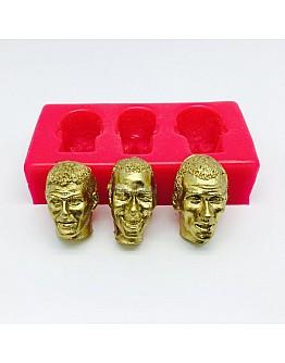 Mann Kopf Modellier 3'er Set Silikonform