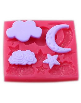 Stern, Mond & Wolke Thema Silikonform ca. 1-4-5 cm