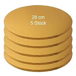 Tortenplatte / Cake Board Rund Gold 28 cm 5 Stk.