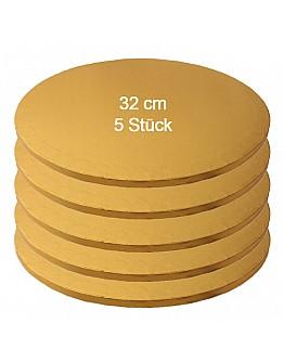 Tortenplatte / Cake Board Rund Gold 32 cm 5 Stück