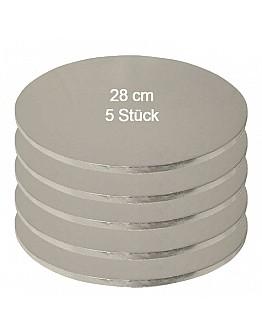 Tortenplatte / Cake Board Rund Silber 28 cm 5 Stück