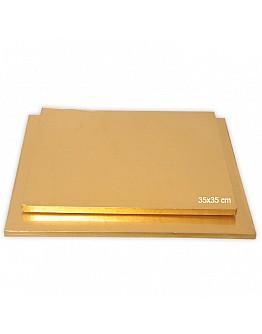 Tortenplatte / Cake Board Quadrat Gold 35x35 cm