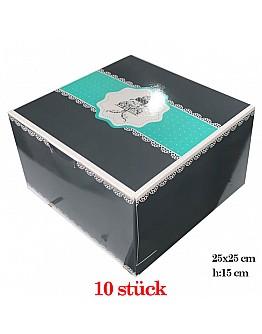 Tortenkarton / Torten Box 25x25x15 cm 10 Stück
