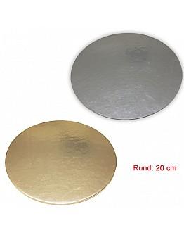 Tortenunterlage Rund 2 seitig ( Gold & Silber ) 20 cm