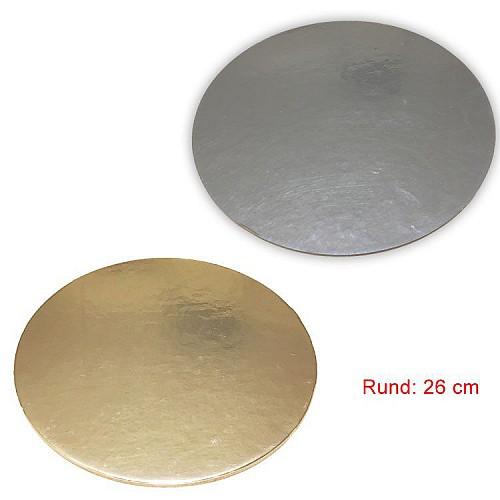 Tortenunterlage Rund 2 seitig ( Gold & Silber ) 26 cm