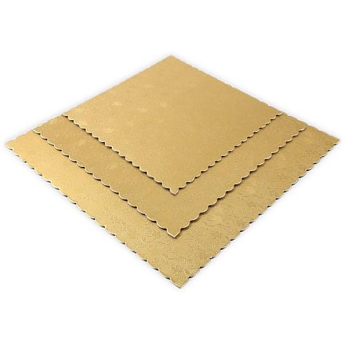 Quadrat Tortenunterlage Gold 3'er Set