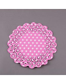 Torten Spitzenpapier Rosa mit Pünktchen  21 cm